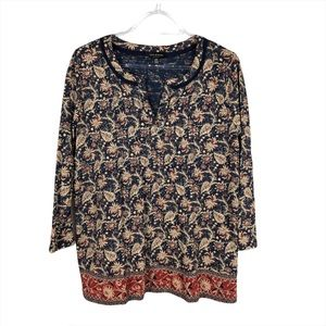 NWT Lucky Brand Navy Floral Print with Border Top